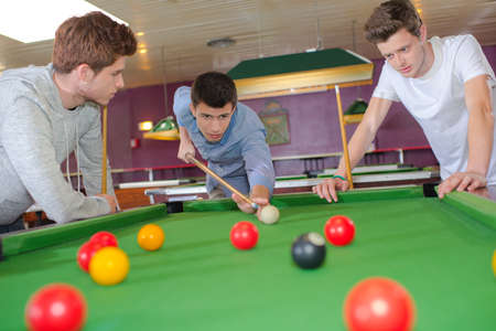 snooker halls: Young lads playing snooker