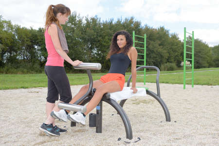 outdoor fitness: outdoor fitness drill Stock Photo