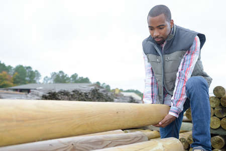 sawn: Man lifting wooden pole