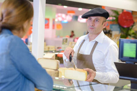 buying special cheese Stock Photo