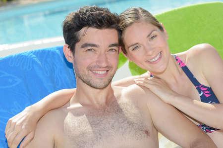 hairy: Portrait of couple sunbathing Stock Photo