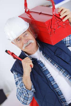 lifevest: portrait of worker wearing jacket and helmet