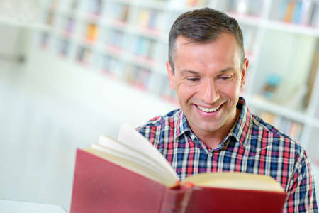 happy and avid  reader Stock Photo