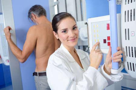 setting the x-ray machine Stock Photo