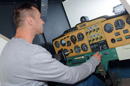 simulator: pilot training on the simulator Stock Photo