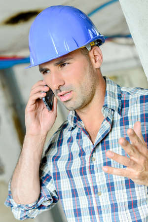 Stressed foreman Stock Photo