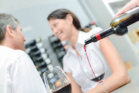 wine road: Pouring wine in a restaurant