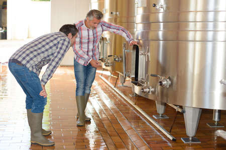 brewers: men checking vats