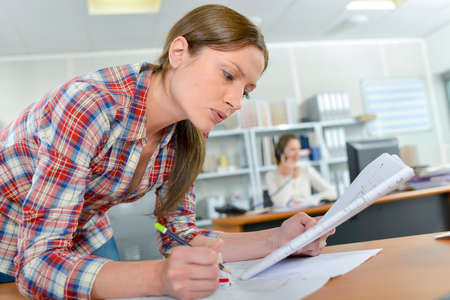 workmate: busy worker Stock Photo
