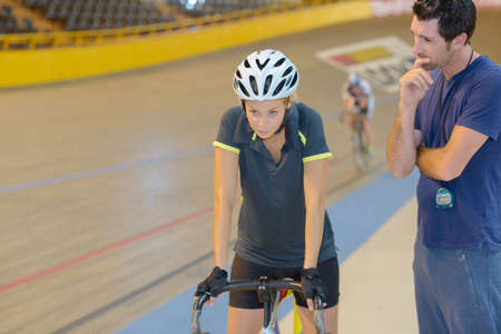 psych: Woman psyching up for cycling contest