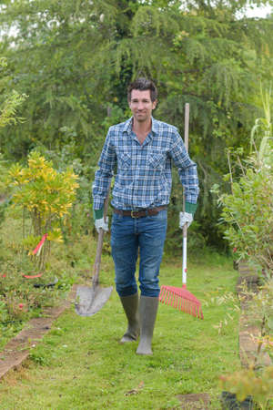 Gardener carrying spade and rake