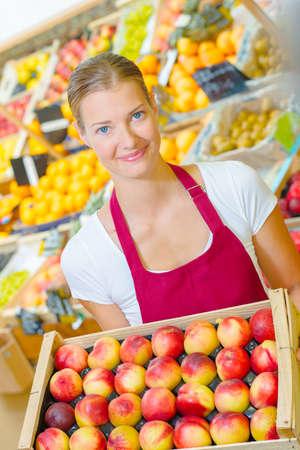 basketful: girl holding basketful of apples