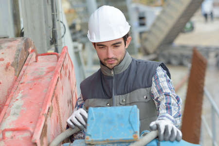 precast: worker in the site Stock Photo