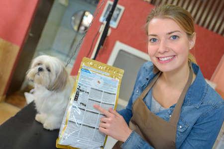 groomer: pet groomer and shop Stock Photo