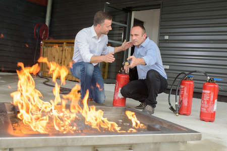 testing the fire extinguisher