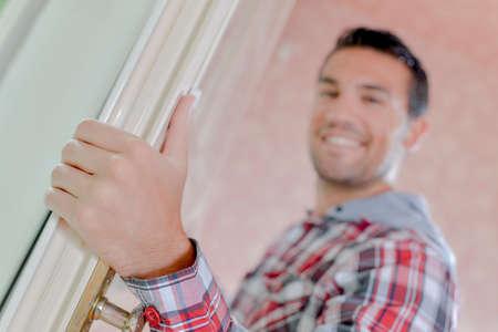 door knob: Worker on a site Stock Photo