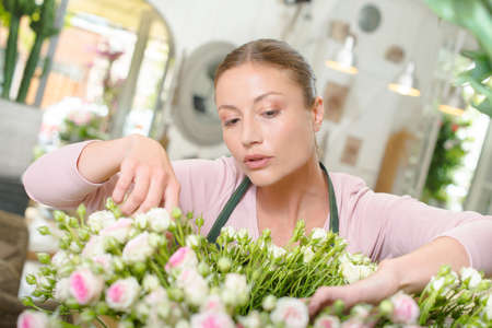 specific: florist arranging flowers Stock Photo