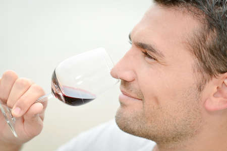 degustating: Man smelling red wine