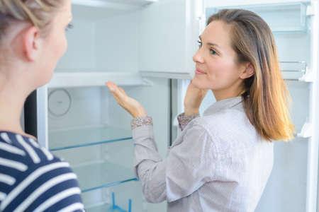 retailer: Retailer showing fridge to customer Stock Photo