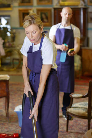 impish: playful housecleaners cleaning a house