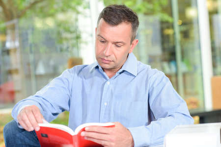 relaxed avid reader Stock Photo