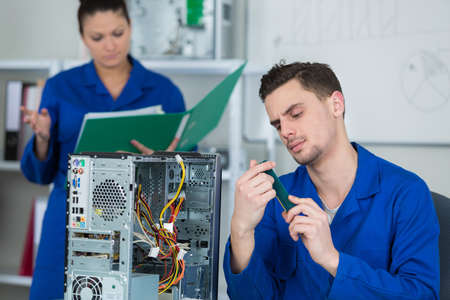 working on the CPU project Stock Photo