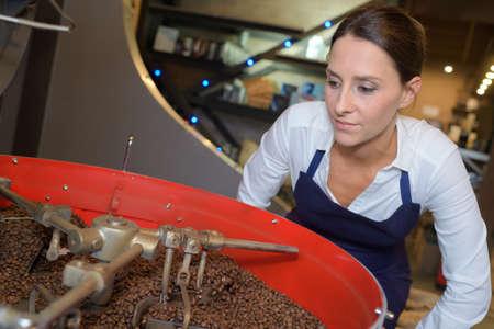 Trabajadores que eligen los mejores granos de calidad en la fábrica de café Foto de archivo - 77078151