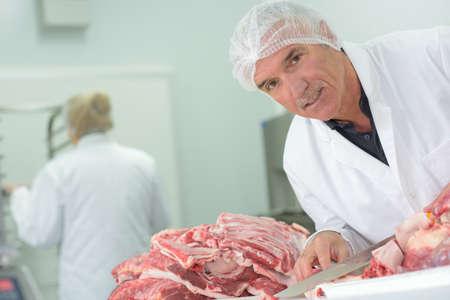 meat packer posing