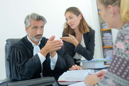 allegation: giving advise to the client Stock Photo