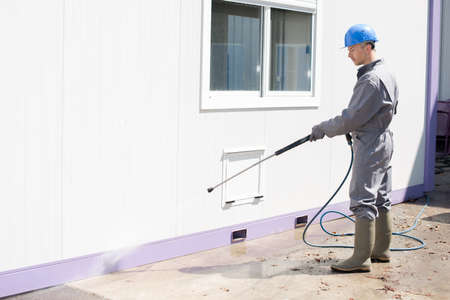 building cleaner on site