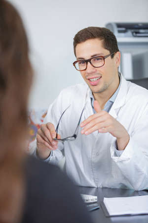 A visit to the ophthalmologist Stock Photo
