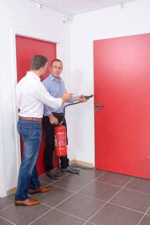 worse: going to the fire exit Stock Photo