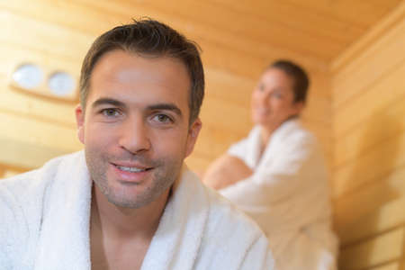 Portrait of man in sauna