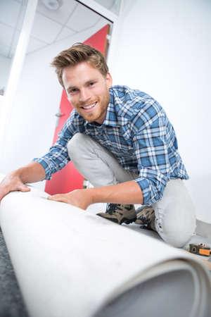 Portrait of carpet fitter Stock Photo