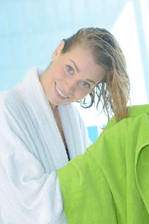 beautiful woman dry hair with a towel Stock Photo
