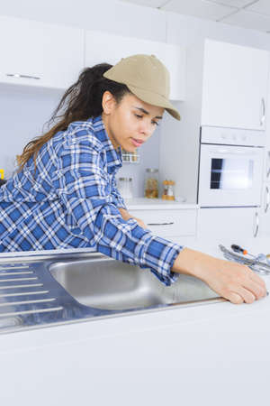 work from home: removing the sink Stock Photo
