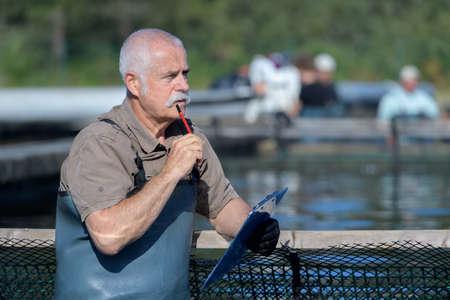 a fisherman thinking