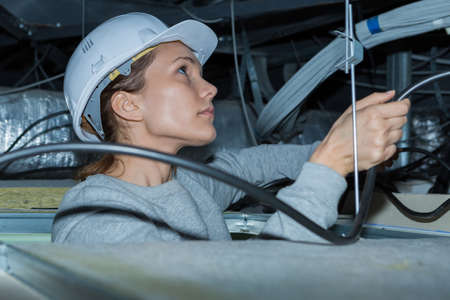 designate: young engineer checking construction Stock Photo