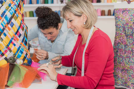 designate: two dressmakers and their project Stock Photo