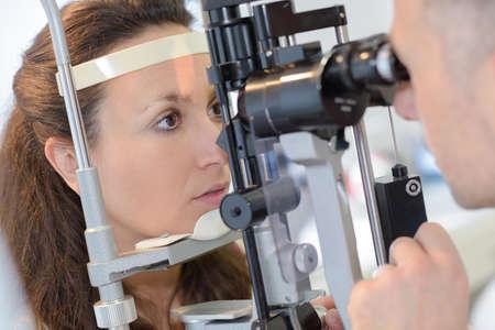 woman having eye test Stock Photo