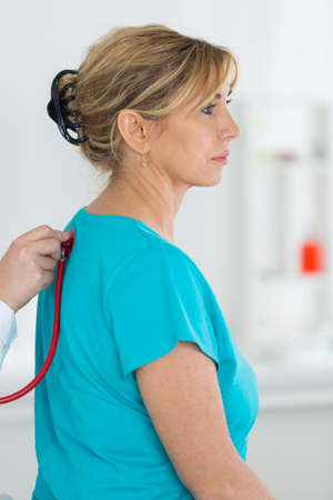 lung sounds auscultation with stethoscope