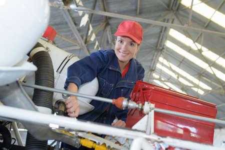 spaner: Portrait of female mechanic Stock Photo