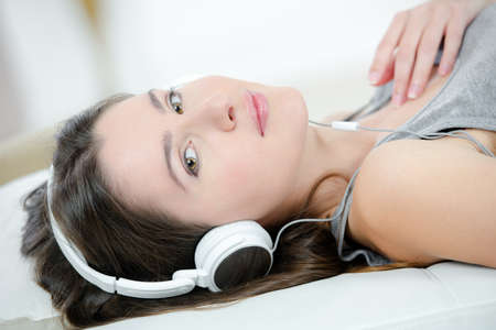 listening to the music Stock Photo