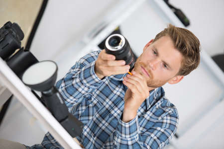 fixing the video cam Stock Photo