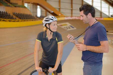velodrome: track at velodrome Stock Photo