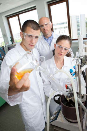 chromatograph: engineering students working in the lab Stock Photo