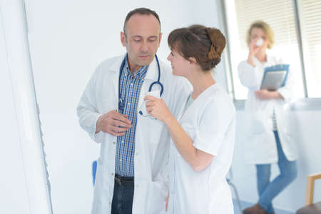 male and female doctors flirting at hospital Stock fotó