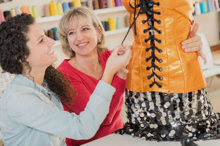 two dressmakers and their project Stock Photo