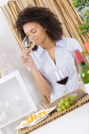 woman wine tasting Stock Photo