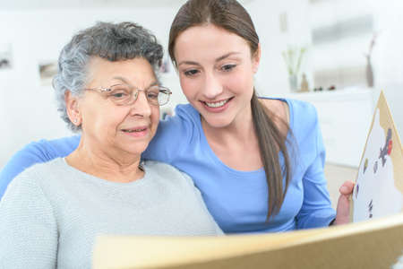 afflictions: friendship between grandmother and granddaughter Stock Photo